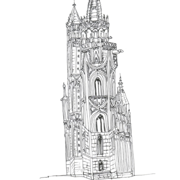 Matthias Tower, Ink on Paper