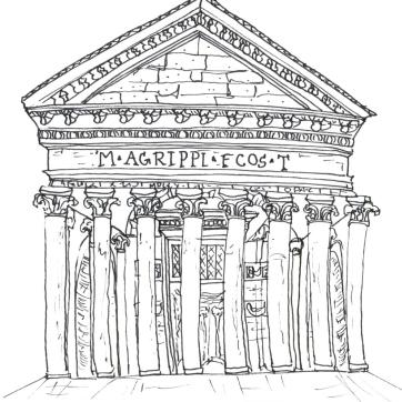 Pantheon, Pen on Paper