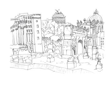Roman Forum, Pen on Paper