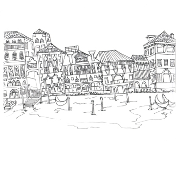 Venice Harbour, Pen on Paper