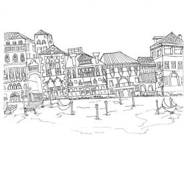 Venice Harbour, Pen on Paper