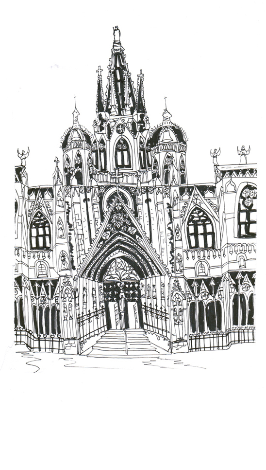 Barcelona Cathedral, Pen on Paper
