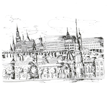 Budapest Viewpoint, Pen on Paper