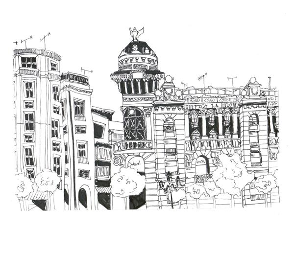 Cordoba Plaza, Pen on Paper