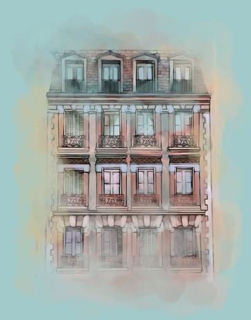 Paris Apartment, Digital Drawing