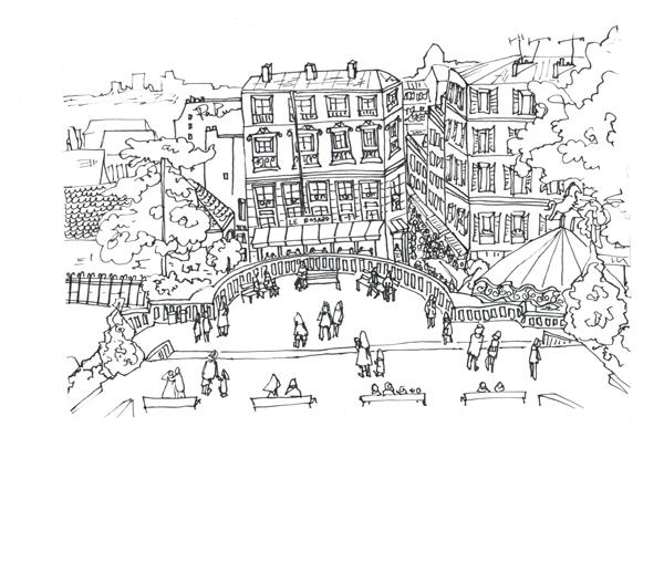 Paris Montmartre, Pen on Paper
