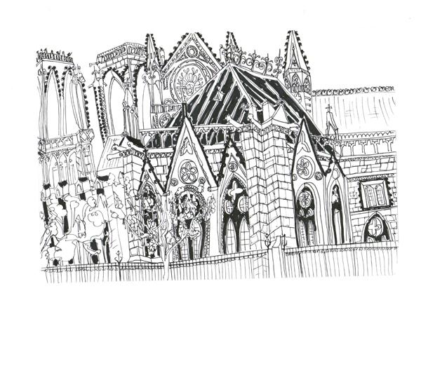 Paris Notre Dame Side Angle, Pen on Paper