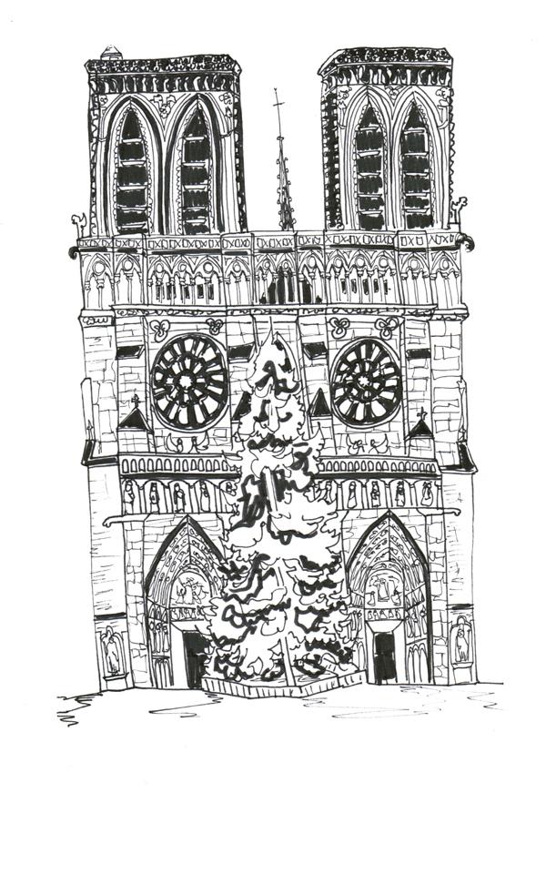 Paris Notre Dame, Pen on Paper