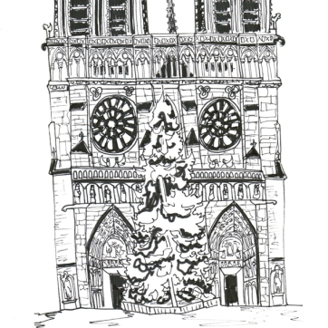 Paris Notre Dame, Pen on Paper
