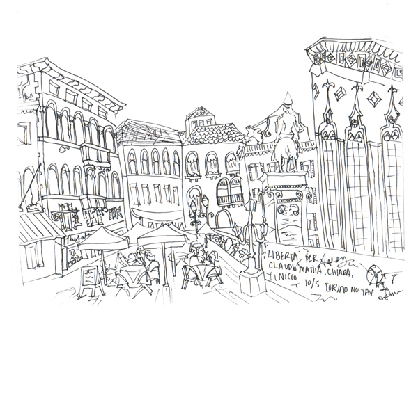 Paris Piazza near Ospedale, Pen on Paper