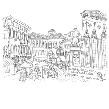 Paris Piazza near Ospedale, Pen on Paper