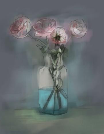 Pink Roses, Digital Drawing
