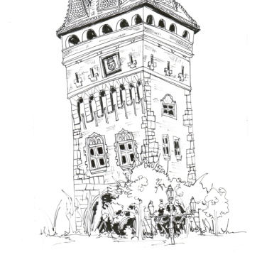 Prague Castle Tower, Pen on Paper