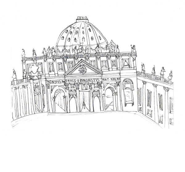 Rome - St peters, Pen on Paper