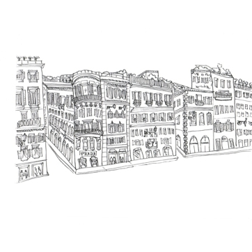 Rome View from Spanish Steps, Pen on Paper