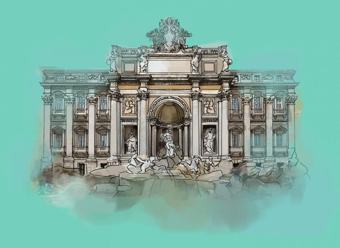 Trevi Fountain, Digital Drawing