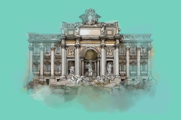 Trevi Fountain, Digital Drawing