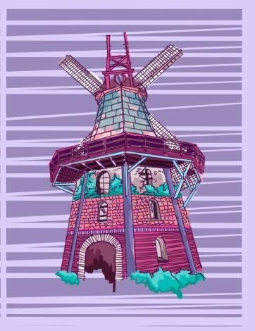 Windmill, Digital Drawing