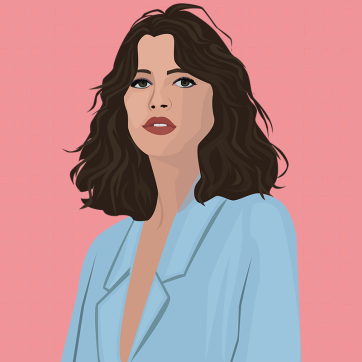 Blue on Pink, Vector Drawing