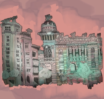 Cordoba Plaza, Digital Drawing