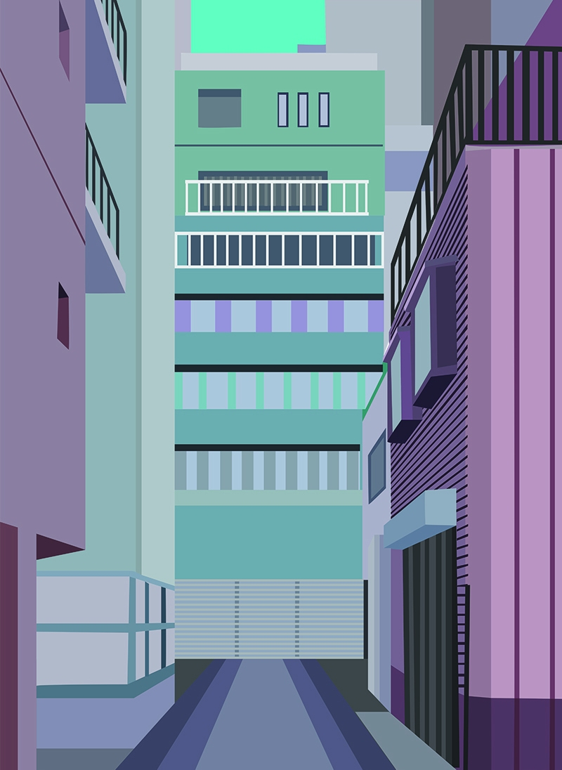 Tokyo Alley, Vector Drawing