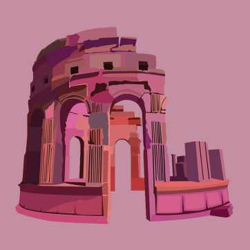 Ancient Structure, Vector Drawing