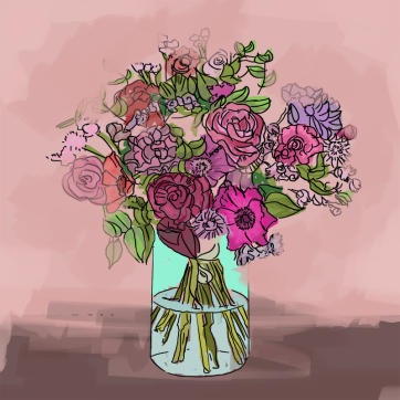 Bouquet on Pink, Digital Drawing