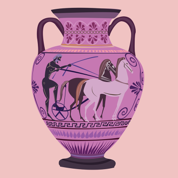 Psychadelic Neck Amphora, Vector Drawing