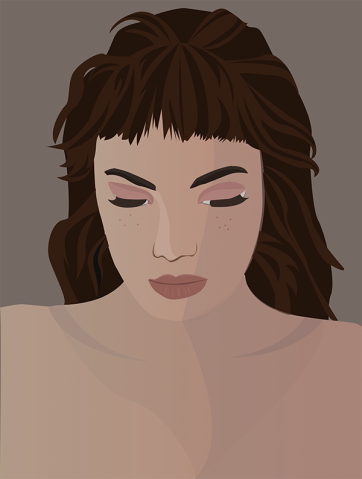 Portrait on Grey, Vector Drawing