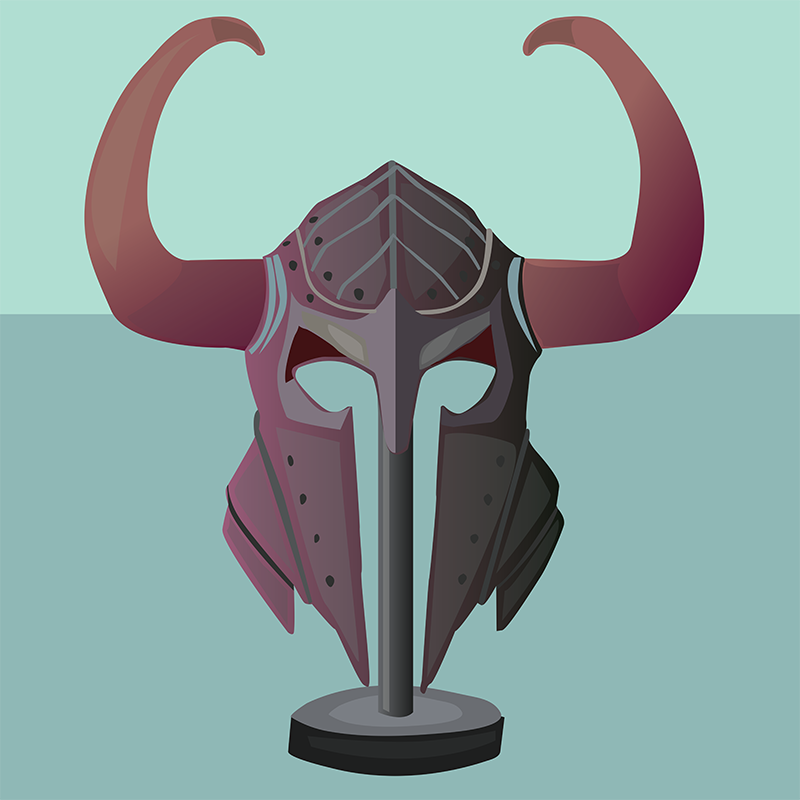 Viking Helmet, Vector Drawing
